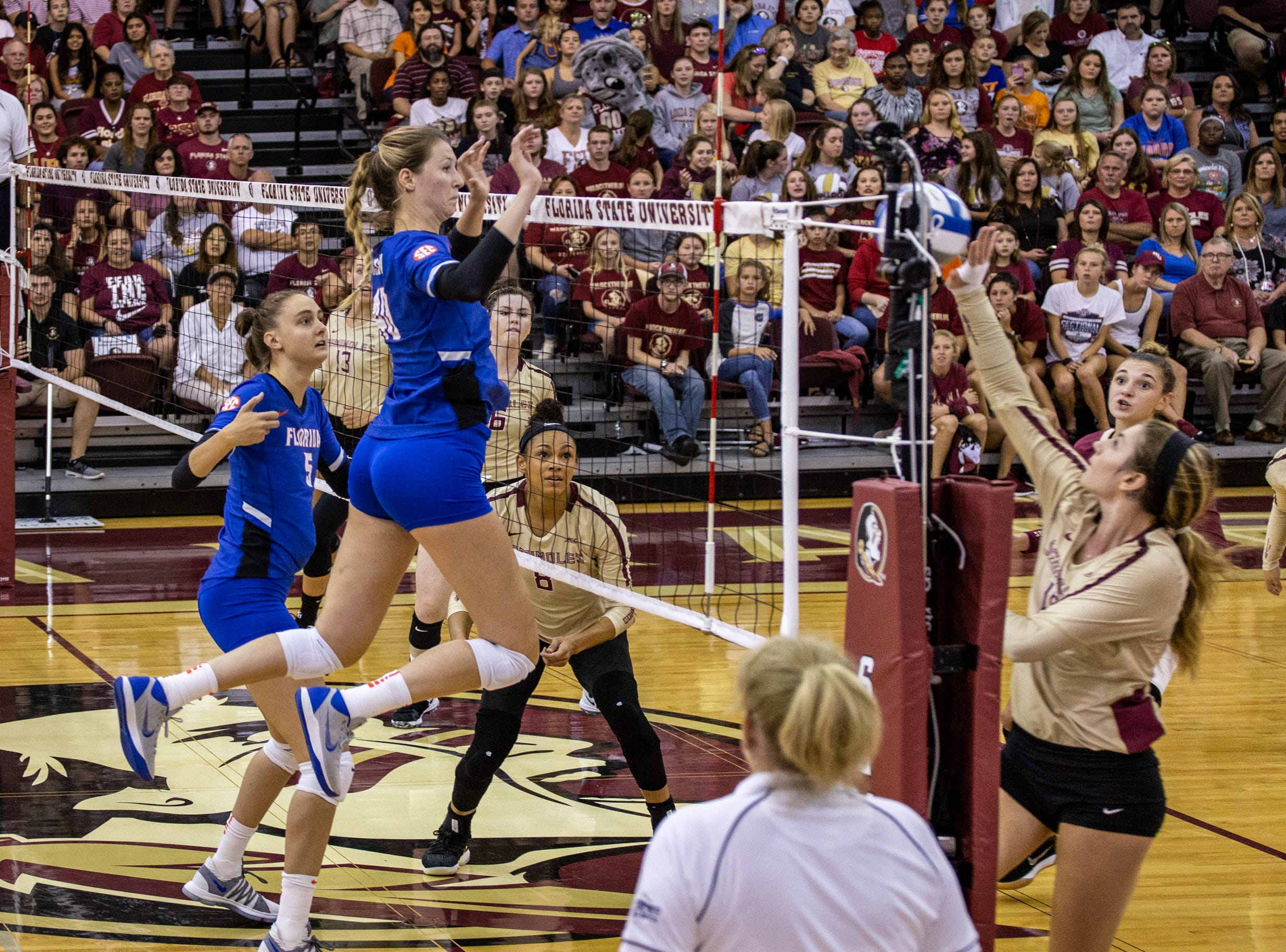 UF's Holly Carlton (40) jumps to block FSU's Christina Ambrose (10) as she tips the ball over the net during the first set against Florida held at Tully Gymnasium on Wednesday.