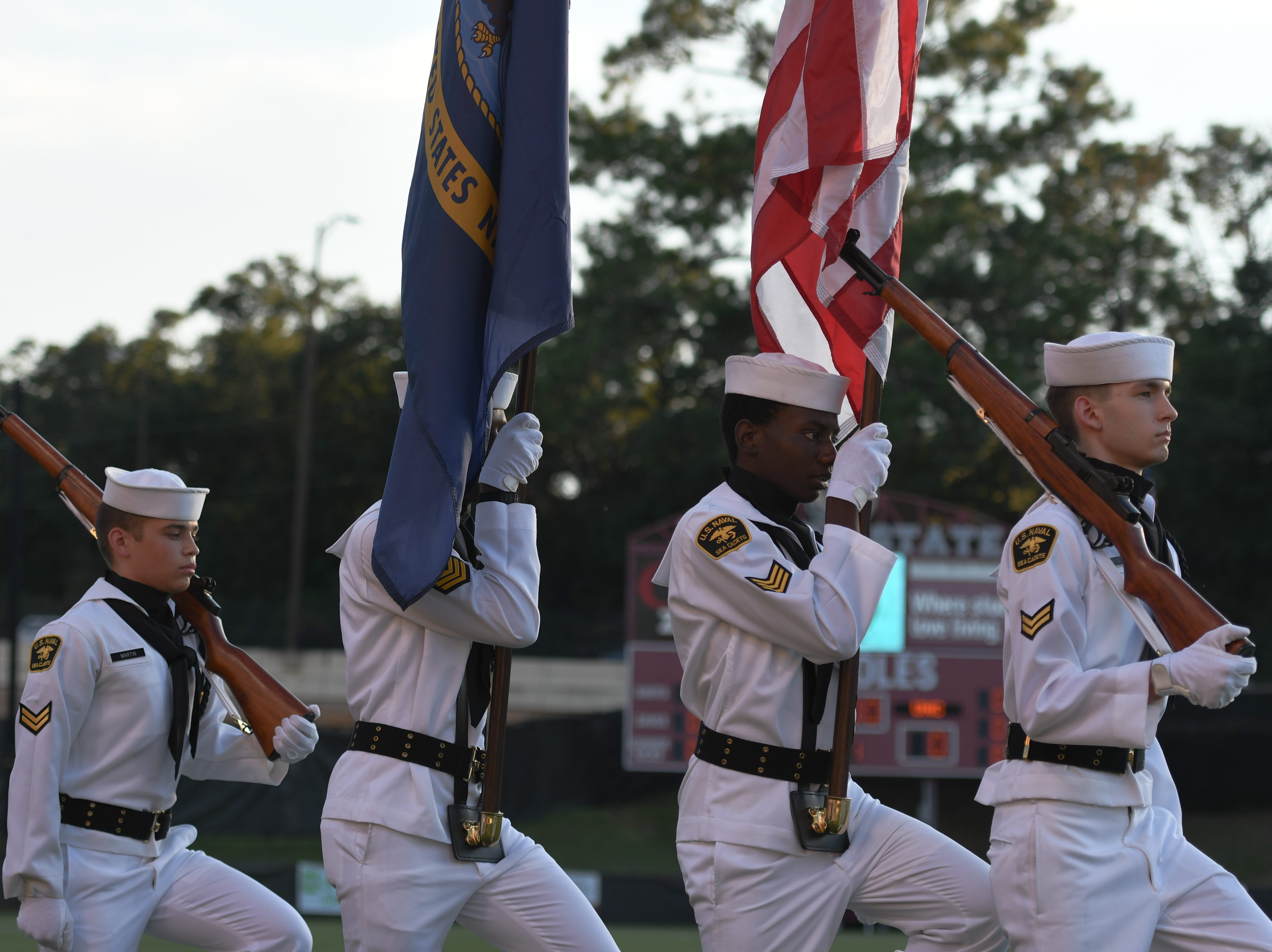 The FSU color guard represented the American flag before FSU's game against UNC on September 14th at the Seminole Soccer Complex.