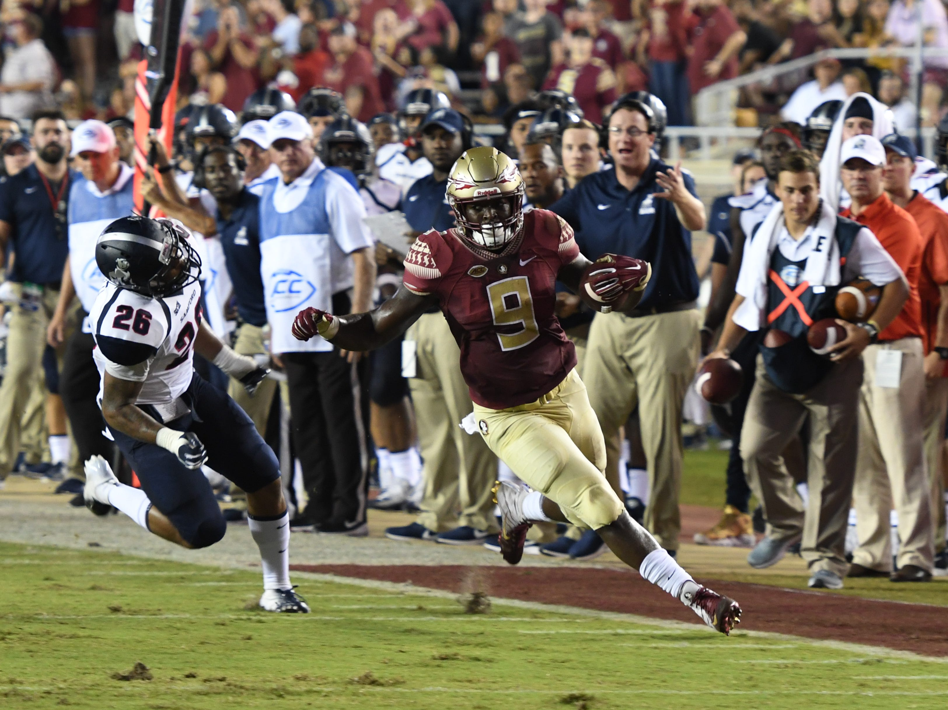 FSU senior running back Jacques Patrick (9) breaking towards the Samford sideline during the second quarter of FSU's game against Samford on Saturday night at Doak Campbell Stadium.
