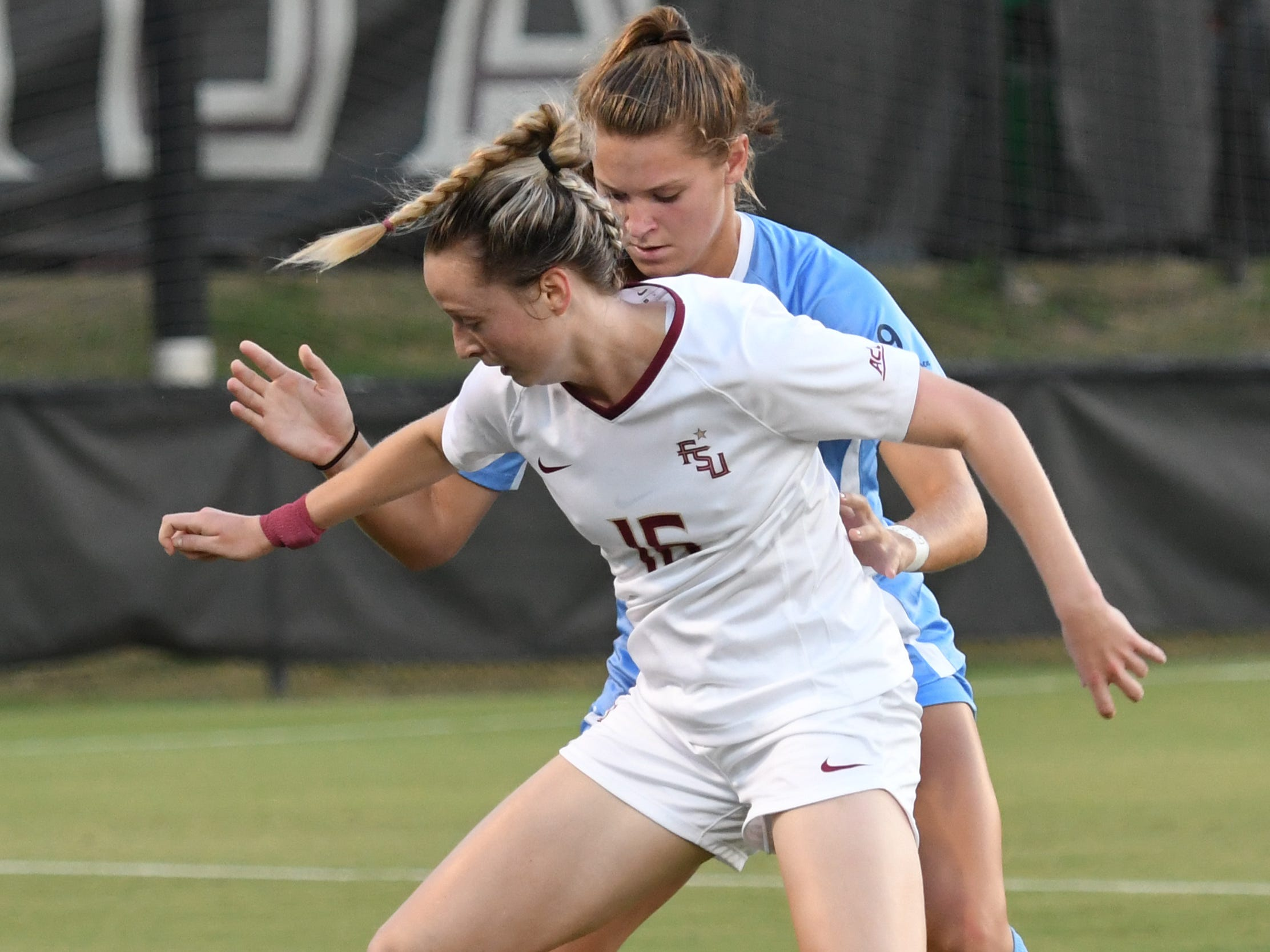 FSU sophomore defender Gabby Carle (16) controlling the ball in the first half of FSU's game against UNC on September 14th at the Seminole Soccer Complex.