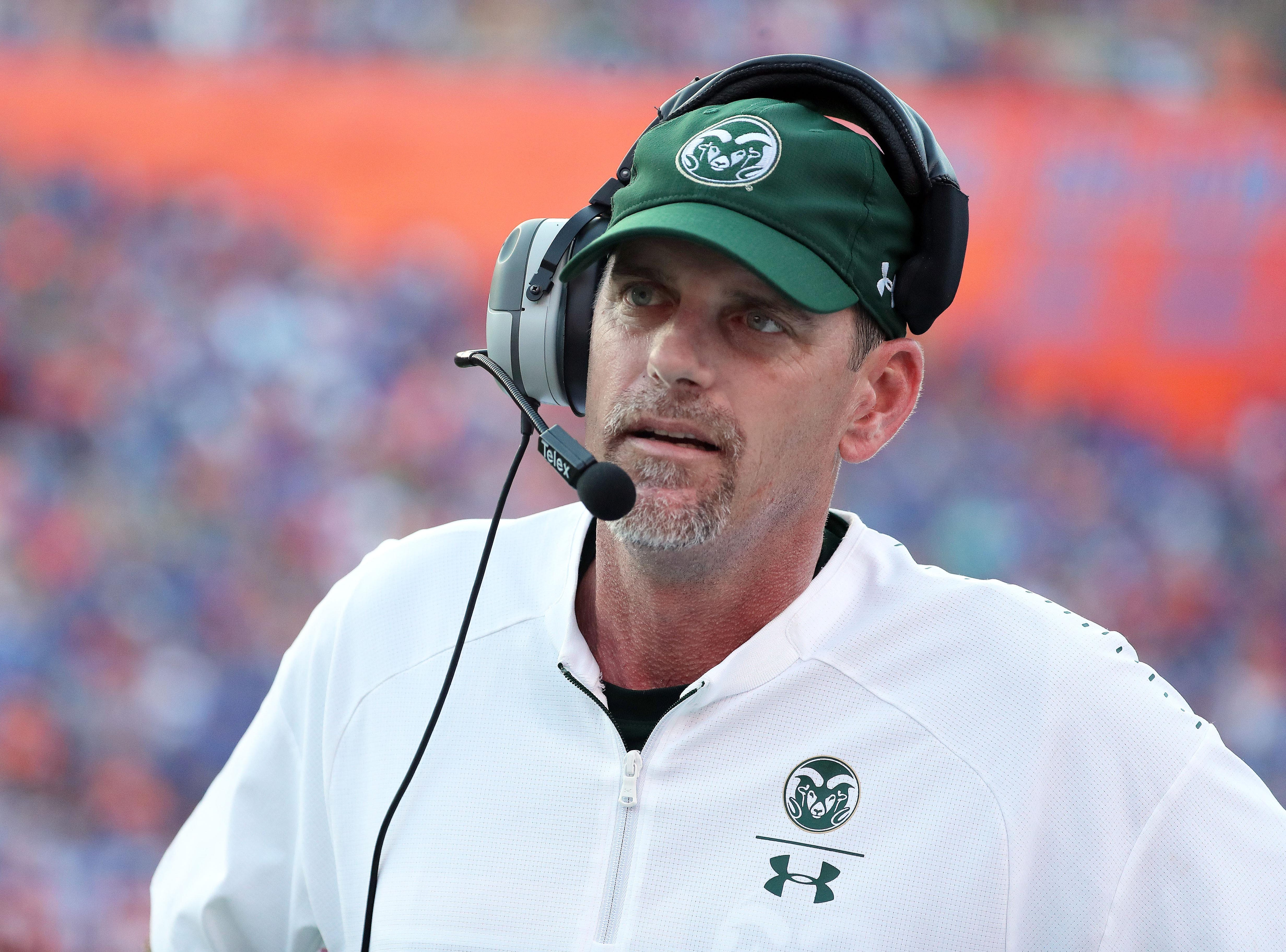 Sep 15, 2018; Gainesville, FL, USA; Colorado State Rams head coach Mike Bobo reacts against the Florida Gators during the second half at Ben Hill Griffin Stadium. Mandatory Credit: Kim Klement-USA TODAY Sports