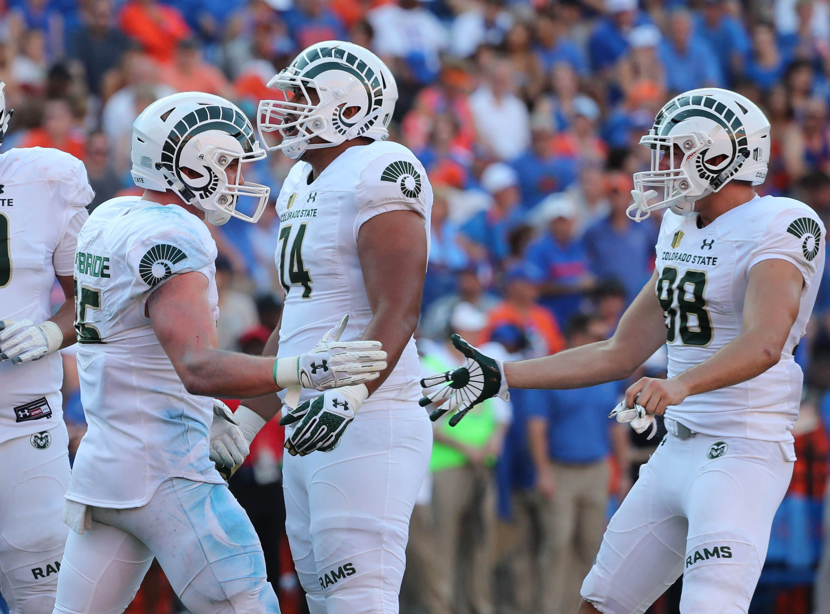 Sep 15, 2018; Gainesville, FL, USA; Colorado State Rams tight end Trey McBride (85) is congratulated as he scores a touchdown during the second half at Ben Hill Griffin Stadium. Mandatory Credit: Kim Klement-USA TODAY Sports