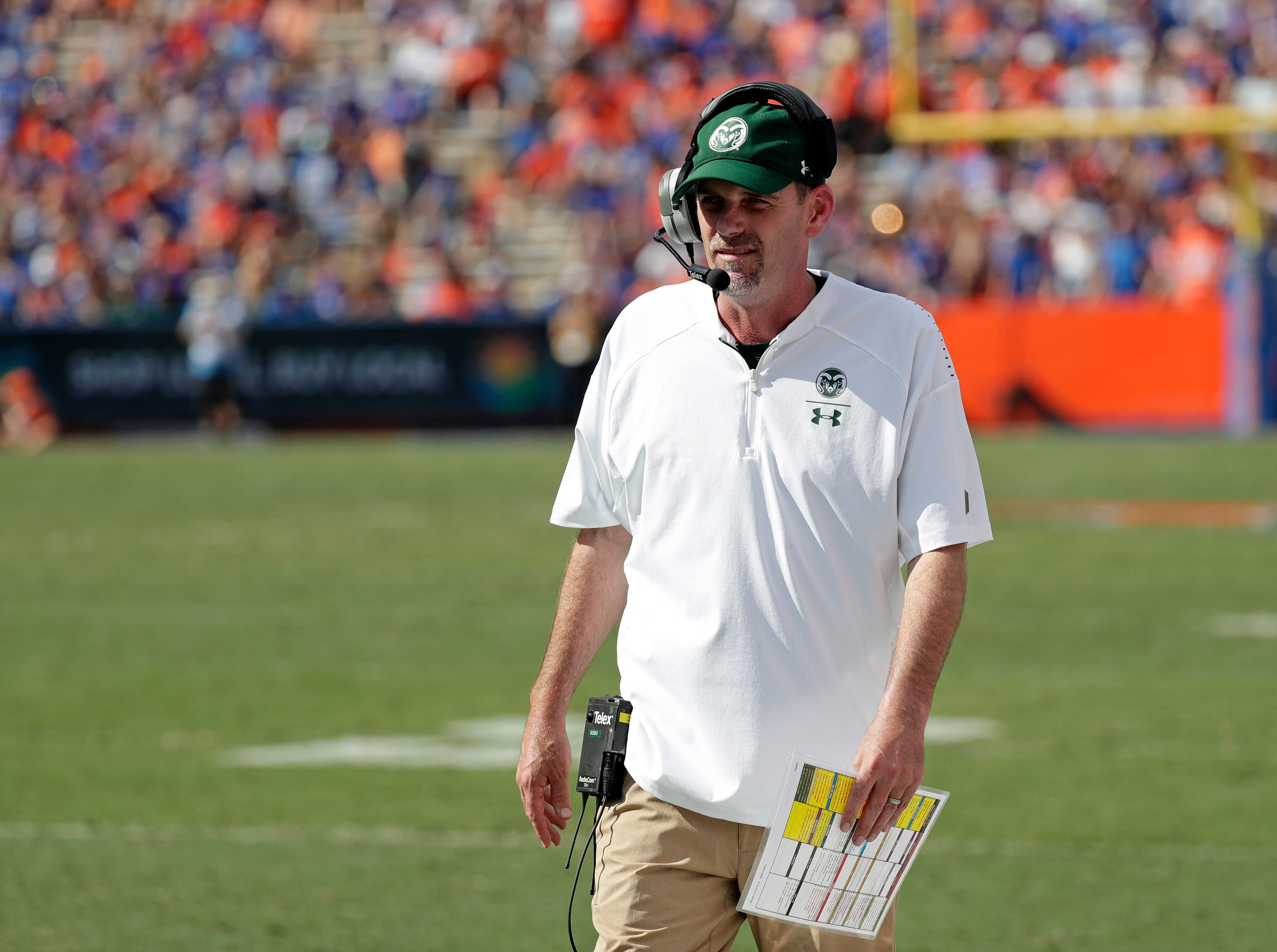 Colorado State head coach Mike Bobo walks along the sideline during the first half of an NCAA college football game against Florida, Saturday, Sept. 15, 2018, in Gainesville, Fla. (AP Photo/John Raoux)