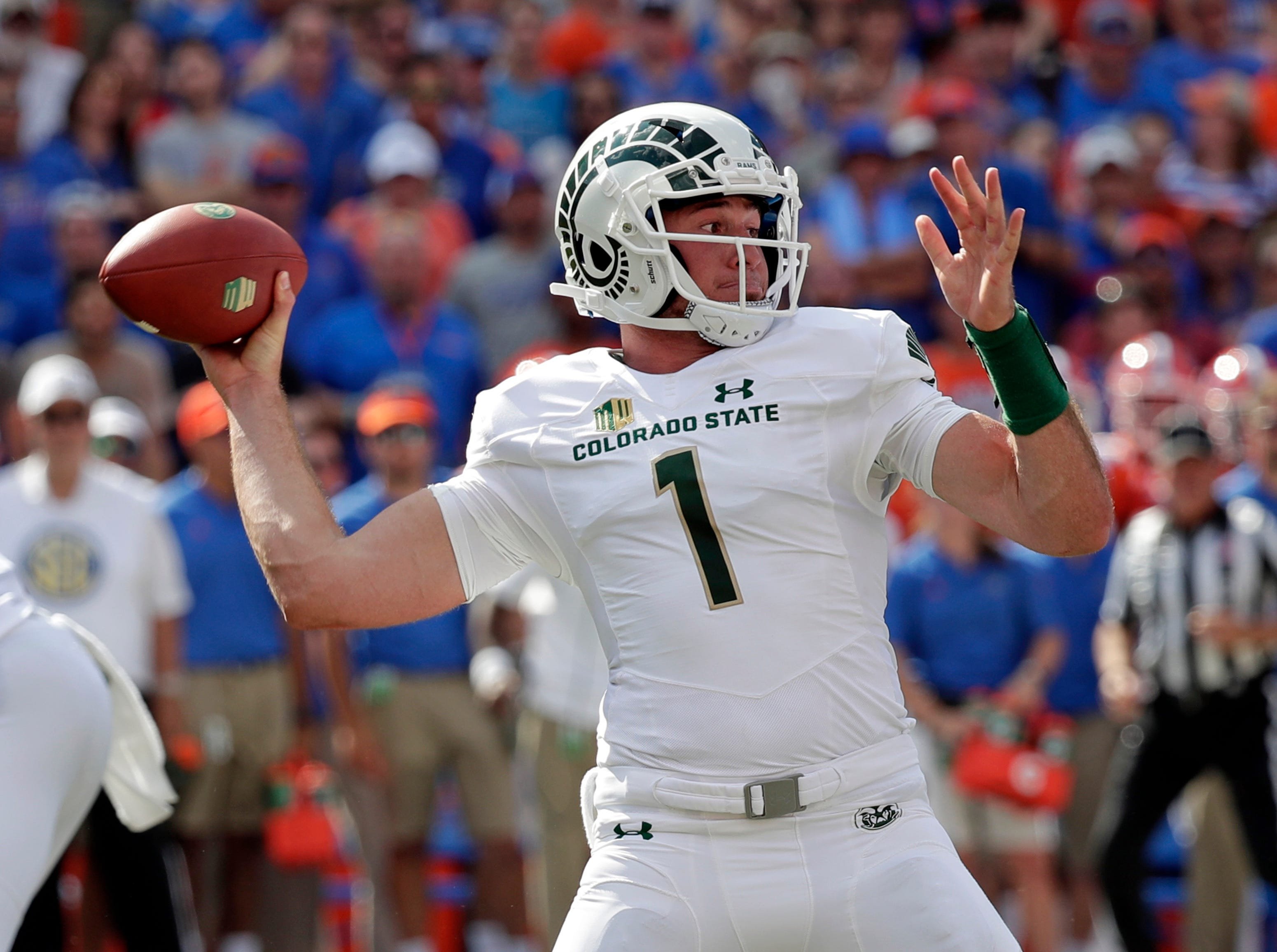 Colorado State quarterback K.J. Carta-Samuels (1) throws a pass against Florida during the first half of an NCAA college football game, Saturday, Sept. 15, 2018, in Gainesville, Fla. (AP Photo/John Raoux)