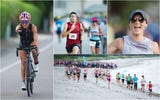 Athletes compete in the Galloway Captiva Triathlon on Sunday in Captiva, Florida. Red tide forced race officials to cancel  the swim portion.