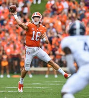 Clemson quarterback Trevor Lawrence (16) passes against Georgia Southern during the 3rd quarter Saturday, September 15, 2018, at Clemson's Memorial Stadium.