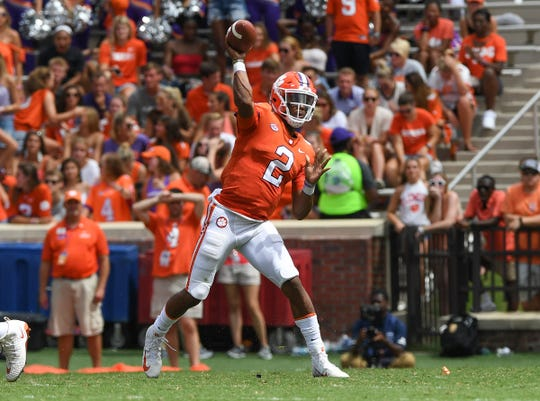 Clemson quarterback Kelly Bryant (2) passes against Georgia Southern during the 2nd quarter Saturday, September 15, 2018, at Clemson's Memorial Stadium.