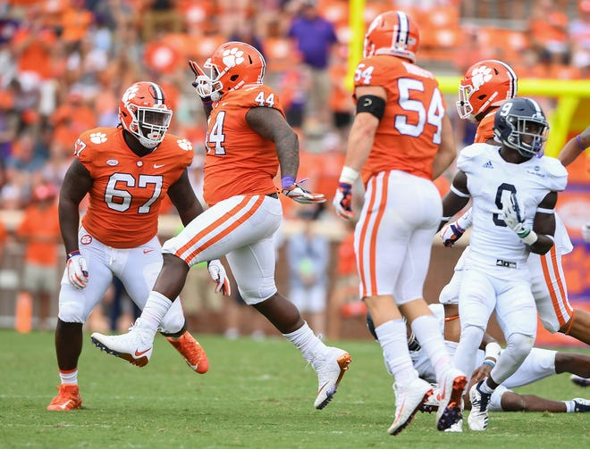 Clemson defensive tackle Nyles Pinckney (44) reacts after recovering a Georgia Southern fumble during the 4th quarter Saturday, September 15, 2018, at Clemson's Memorial Stadium.