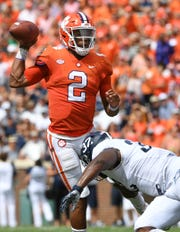 Clemson quarterback Kelly Bryant (2) looks to pass against Georgia Southern  during the 1st quarter Saturday, September 15, 2018, at Clemson's Memorial Stadium.