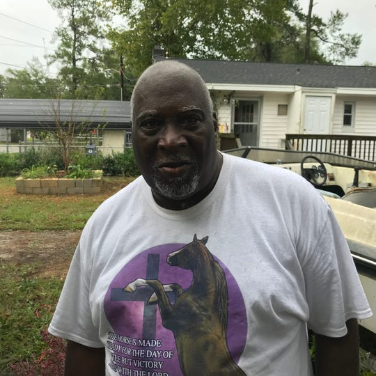 Leroy Green was preparing to evacuate from his home Sunday as a flood threatens Nichols. He and wife moved back to the home in July after it was repaired following a 2016 flood.