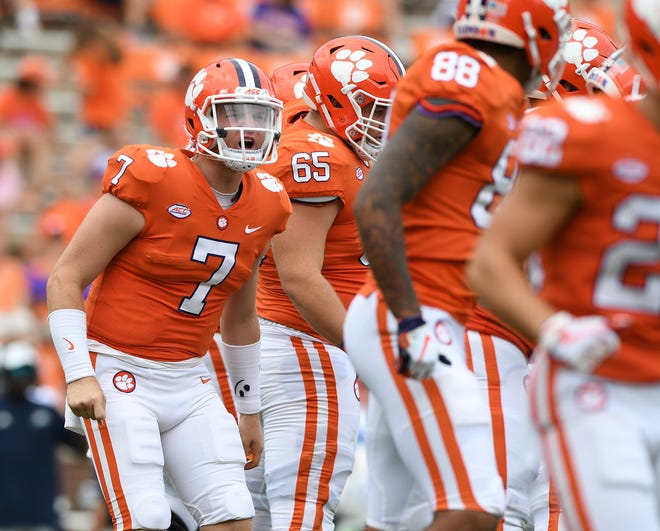 Clemson quarterback Chase Brice (7) plays against Georgia Southern during the 4th quarter Saturday, September 15, 2018, at Clemson's Memorial Stadium.