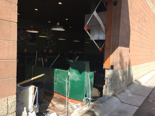 Pita Pit on 10th Avenue South was heavily damaged by a vehicle early Sunday morning.