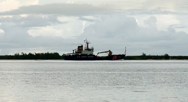 Coast Guard Cutter Sequoia (WLB 215) returns to homeport after successfully conducting ports assessments and aids to navigation verification in the ports of Tinian and Rota Sept. 13, 2018. Their efforts were critical to re-opening both ports and allowing the flow of relief supplies into affected areas following the passage of Typhoon Mangkhut. (U.S. Coast Guard photo by Petty Officer 1st Class Makenzi Austin/Released)