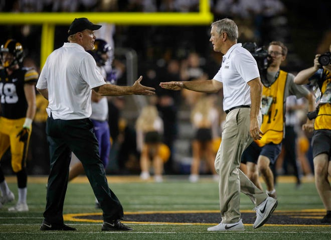 Northern Iowa coach Mark Farley and Iowa coach Kirk Ferentz, shown here in 2018, were set to meet again this September in Kinnick Stadium. That won't happen now after the Big Ten announced all fall sports will be conference only.