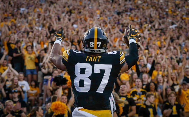 Iowa tight end Noah Fant celebrates with the Hawkeye fans after pulling down a touchdown reception against Northern Iowa on Saturday, Sept. 15, 2018, at Kinnick Stadium in Iowa City.