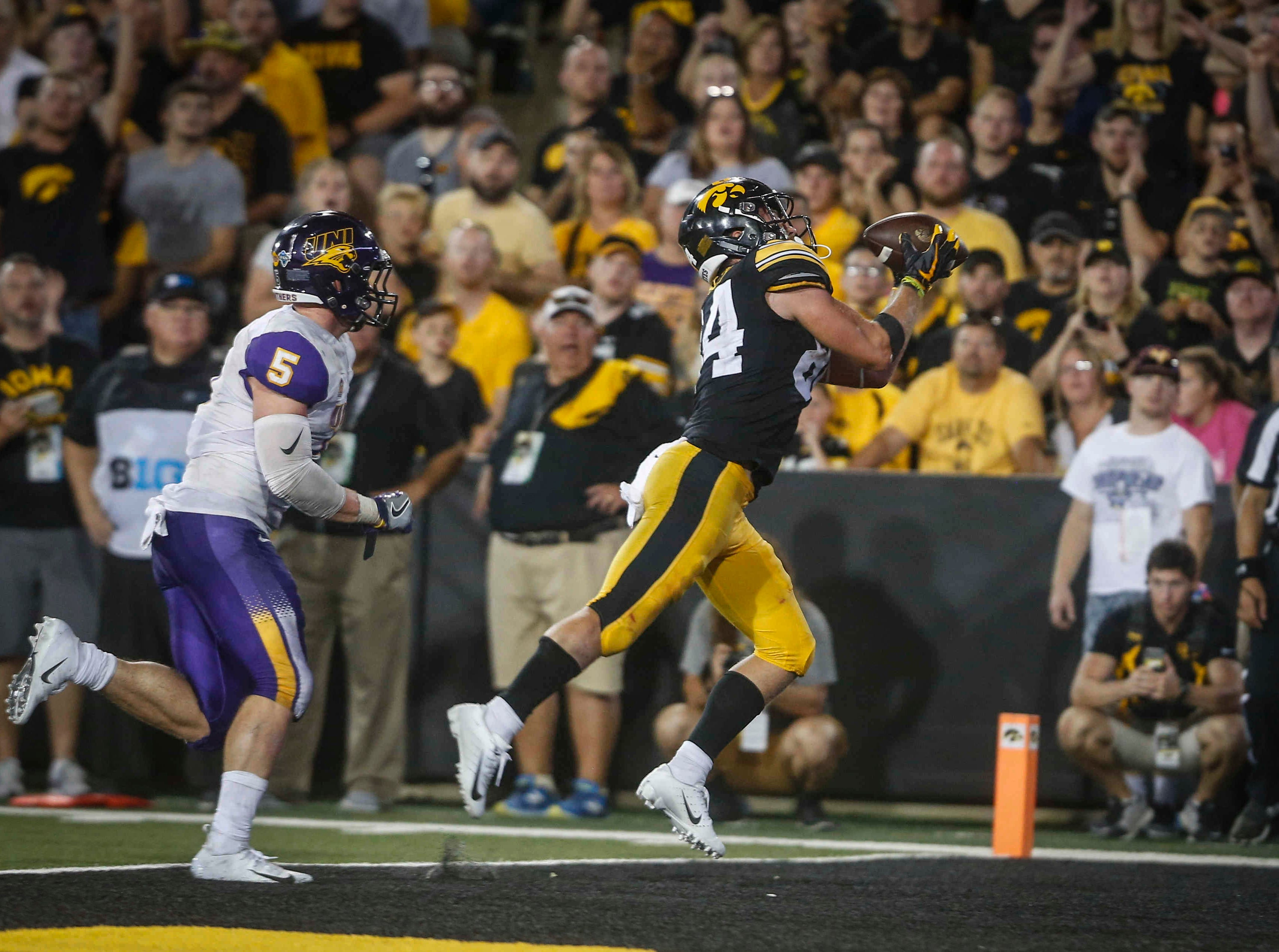 Iowa receiver Nick Easley pulls in a touchdown reception against Northern Iowa in the third quarter on Saturday, Sept. 15, 2018, at Kinnick Stadium in Iowa City.