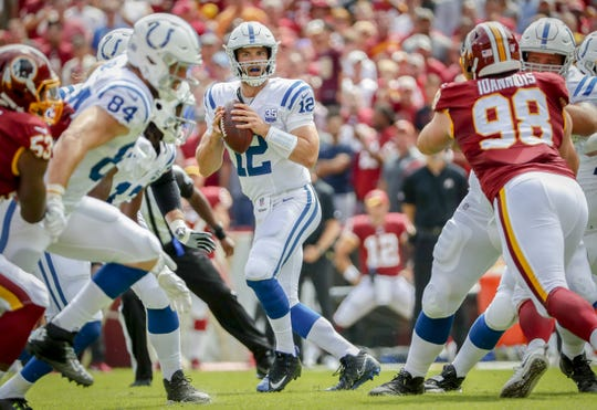 Indianapolis Colts quarterback Andrew Luck (12) looks for a receiver as he drops back to pass during the first half of action. The Indianapolis Colts play the Washington Redskins at FedEx Field in Landover, MD., Sunday, Sept. 16, 2018.