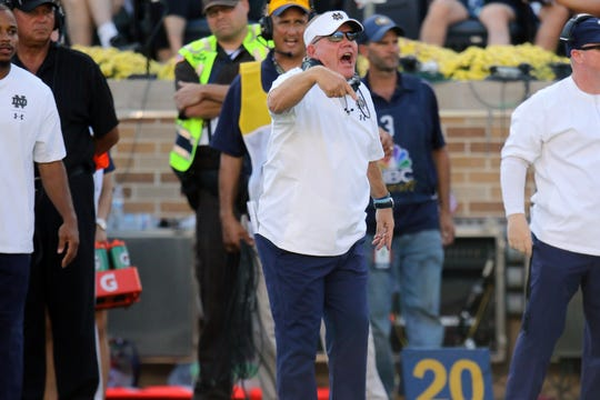 Notre Dame Fighting Irish head coach Brian Kelly calling out plays in game between the Notre Dame Fighting Irish and the Vanderbilt Commodores at Notre Dame Stadium in South Bend, Ind., on Saturday, Sept. 15, 2018. Notre Dame Fighting Irish defeats Vanderbilt Commodores 22-17.