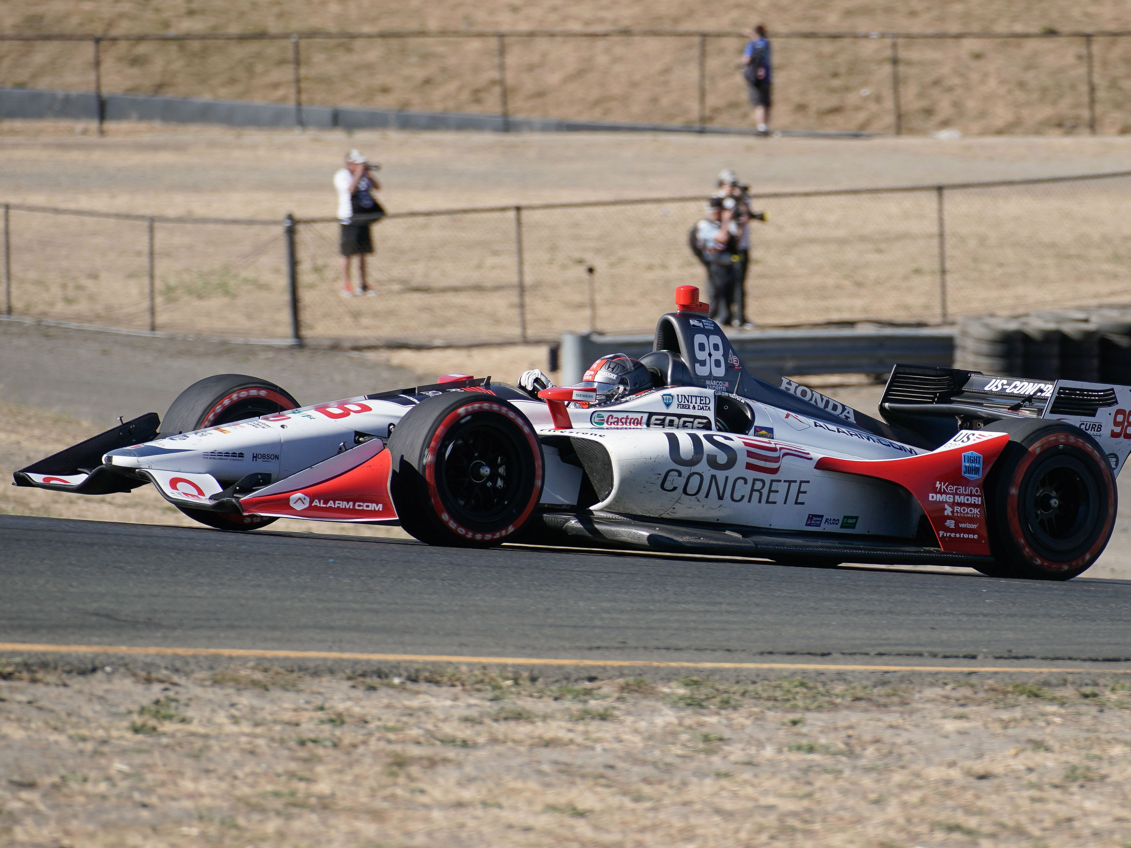 Sep 16, 2018; Sonoma, CA, USA;  Indycar driver Marco Andretti (98) during the Grand Prix of Sonoma at Sonoma Raceway. Mandatory Credit: Stan Szeto-USA TODAY Sports