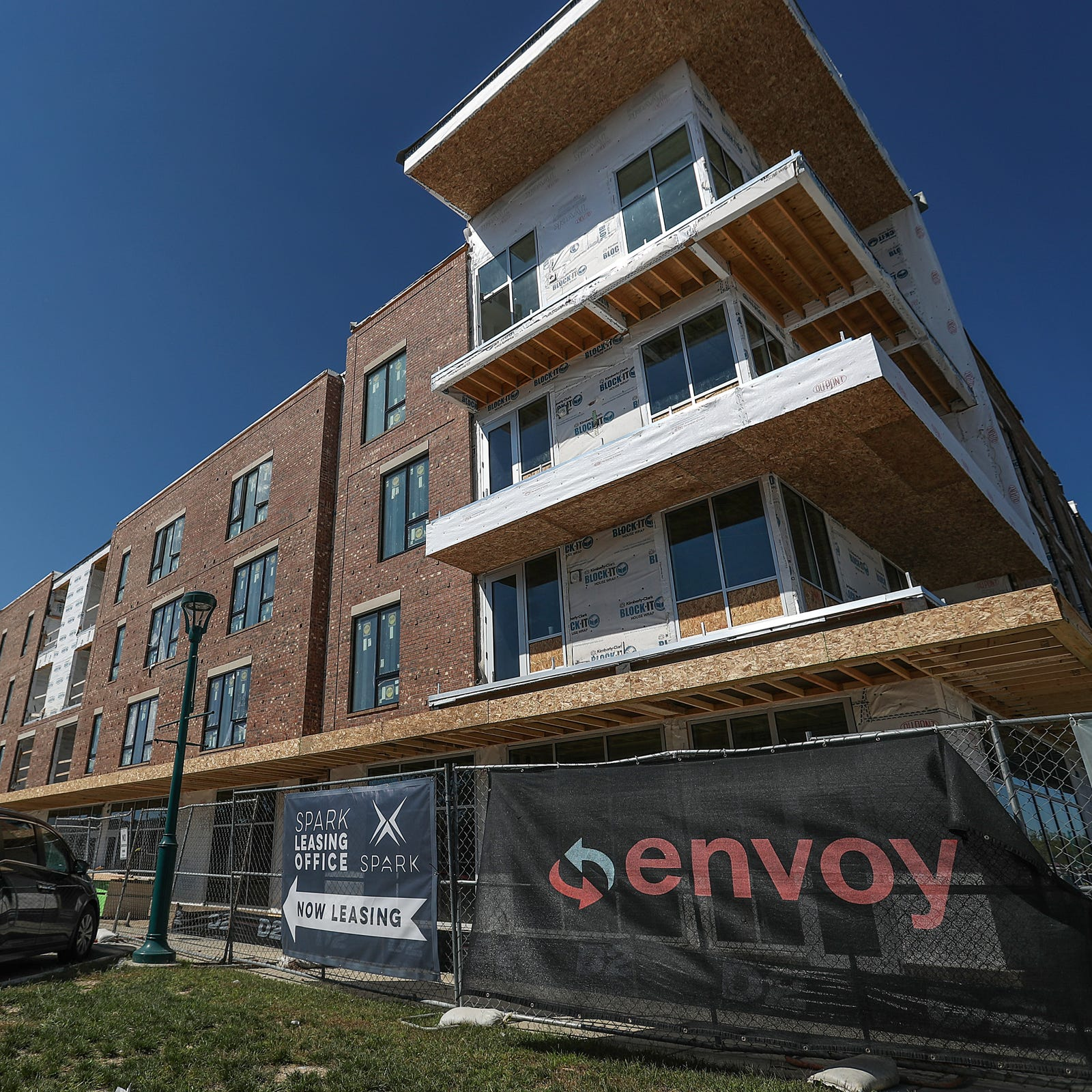 The mid-construction Spark Apartments in Fishers,...