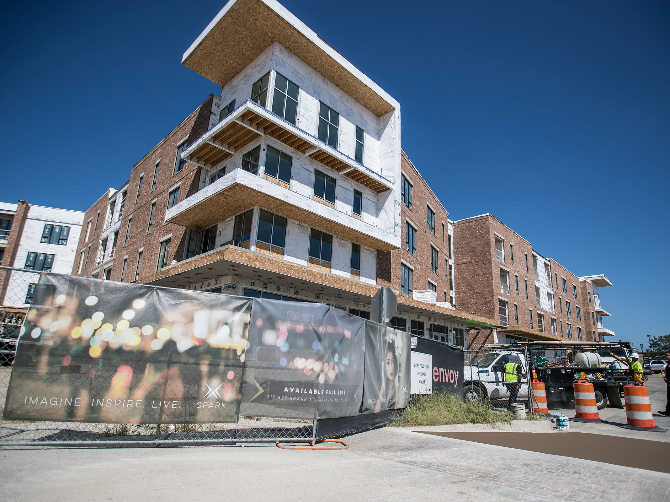 The mid-construction Spark Apartments in Fishers, Ind., are seen on Friday, Sept. 14, 2018. The apartments, at North Street and Lantern road, will 200 offer one-, two- and three-bedroom apartment units and 11 live/work spaces.
