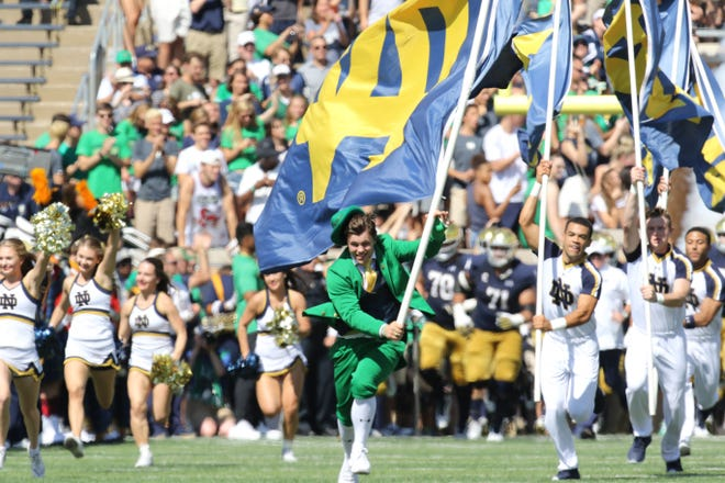 Notre Dame Fighting Irish mascot the Leprechaun entering the stadium for game between the Notre Dame Fighting Irish and the Vanderbilt Commodores. Commodores at Notre Dame Stadium in South Bend, Ind., on Saturday, Sept. 15, 2018. Notre Dame Fighting Irish defeats Vanderbilt Commodores 22-17.