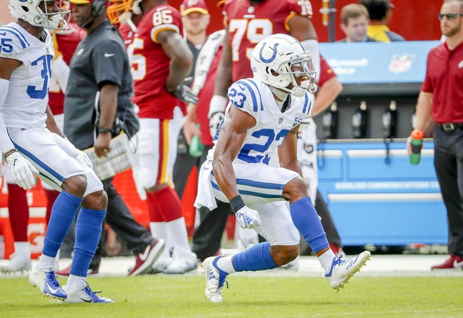 Indianapolis Colts cornerback Kenny Moore (23) reacts to a defensive stop of Washington Redskins running back Chris Thompson (25) during the first half of action. The Indianapolis Colts play the Washington Redskins at FedEx Field in Landover, MD., Sunday, Sept. 16, 2018.