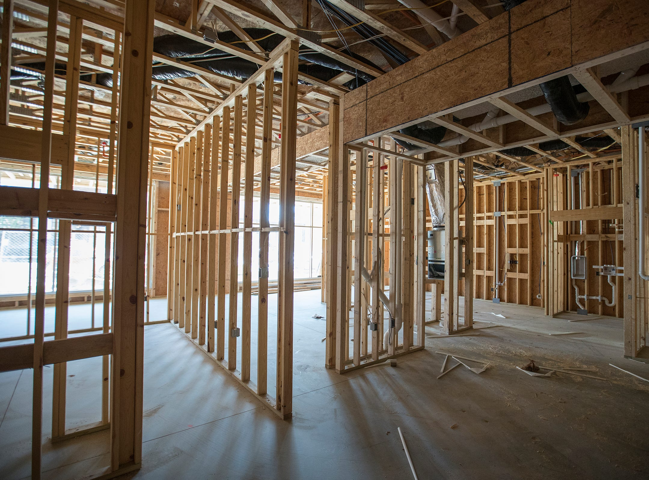 The residential portion of one of 11 live/work spaces at Spark Apartments in Fishers, Ind., on Friday, Sept. 14, 2018. Each live/work unit combines a studio apartment and storefront retail or commercial space. The complex also offers 200 one-, two- and three-bedroom apartments.