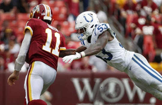 Indianapolis Colts linebacker Darius Leonard (53) dives at Washington Redskins quarterback Alex Smith (11) in the second half of their game at FedEx Field in Landover MD. on Sunday, Sept. 16, 2018.