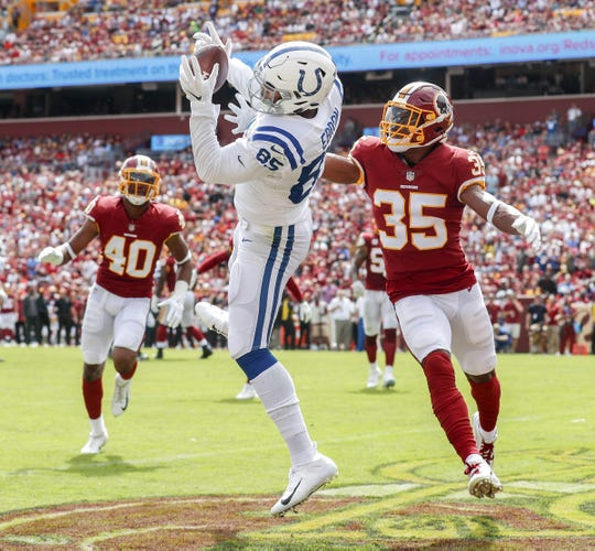 Indianapolis Colts tight end Eric Ebron (85) pulls in a reception in the end zone to score during the first half of action. The Indianapolis Colts play the Washington Redskins at FedEx Field in Landover, MD., Sunday, Sept. 16, 2018.