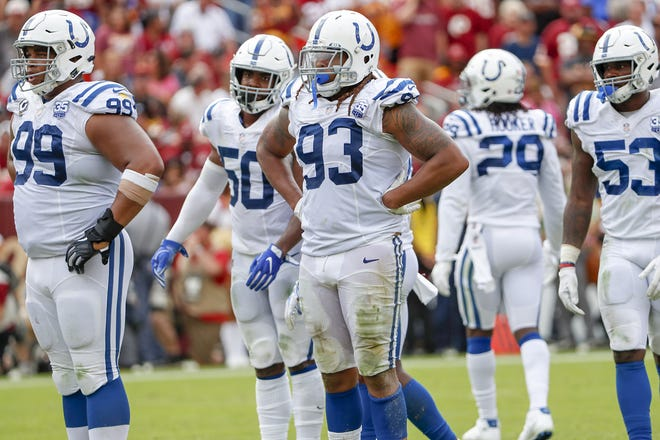 Indianapolis Colts defensive end Jabaal Sheard (93) and the rest of the Colts' defense prepare for the next play by the Redskins during second half action. The Indianapolis Colts play the Washington Redskins at FedEx Field in Landover, MD., Sunday, Sept. 16, 2018. Colts won the game 21-9.