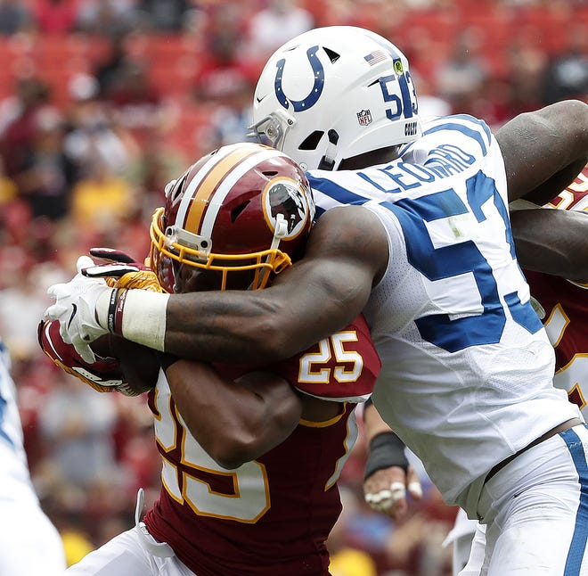 Indianapolis Colts linebacker Darius Leonard (53) tackles Washington Redskins running back Chris Thompson (25) in the first half of their game at FedEx Field in Landover MD. on Sunday, Sept. 16, 2018.