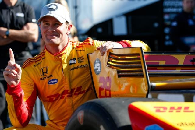 Ryan Hunter-Reay celebrates on pit lane after winning the pole position for the INDYCAR Grand Prix of Sonoma at Sonoma Raceway.