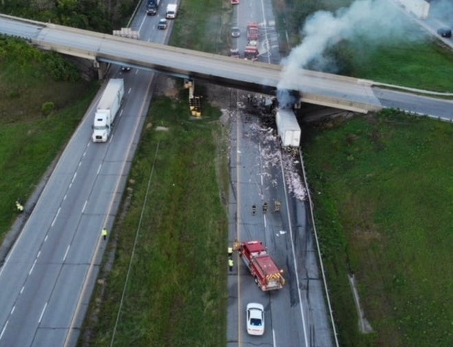 A semitrailer truck driver died, after his truck ran into the back of another truck and erupted into flames on I-70 in Vigo County on Friday, Sept. 14, 2018.