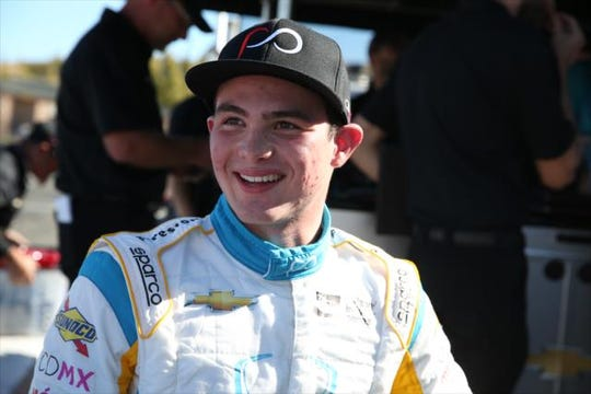 Patricio O'Ward was all smiles Saturday after qualifying fifth for Sunday's INDYCAR Grand Prix of Sonoma at Sonoma Raceway