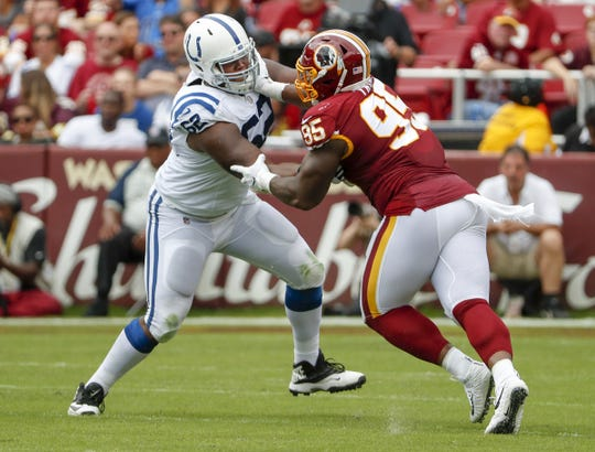 Indianapolis Colts offensive tackle Le'Raven Clark (62) works on stopping Washington Redskins defensive tackle Da'Ron Payne (95) during the first half of action. The Indianapolis Colts play the Washington Redskins at FedEx Field in Landover, MD., Sunday, Sept. 16, 2018.