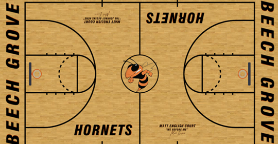 A replica of the Beech Grove basketball court that will be named after coach Matt English.