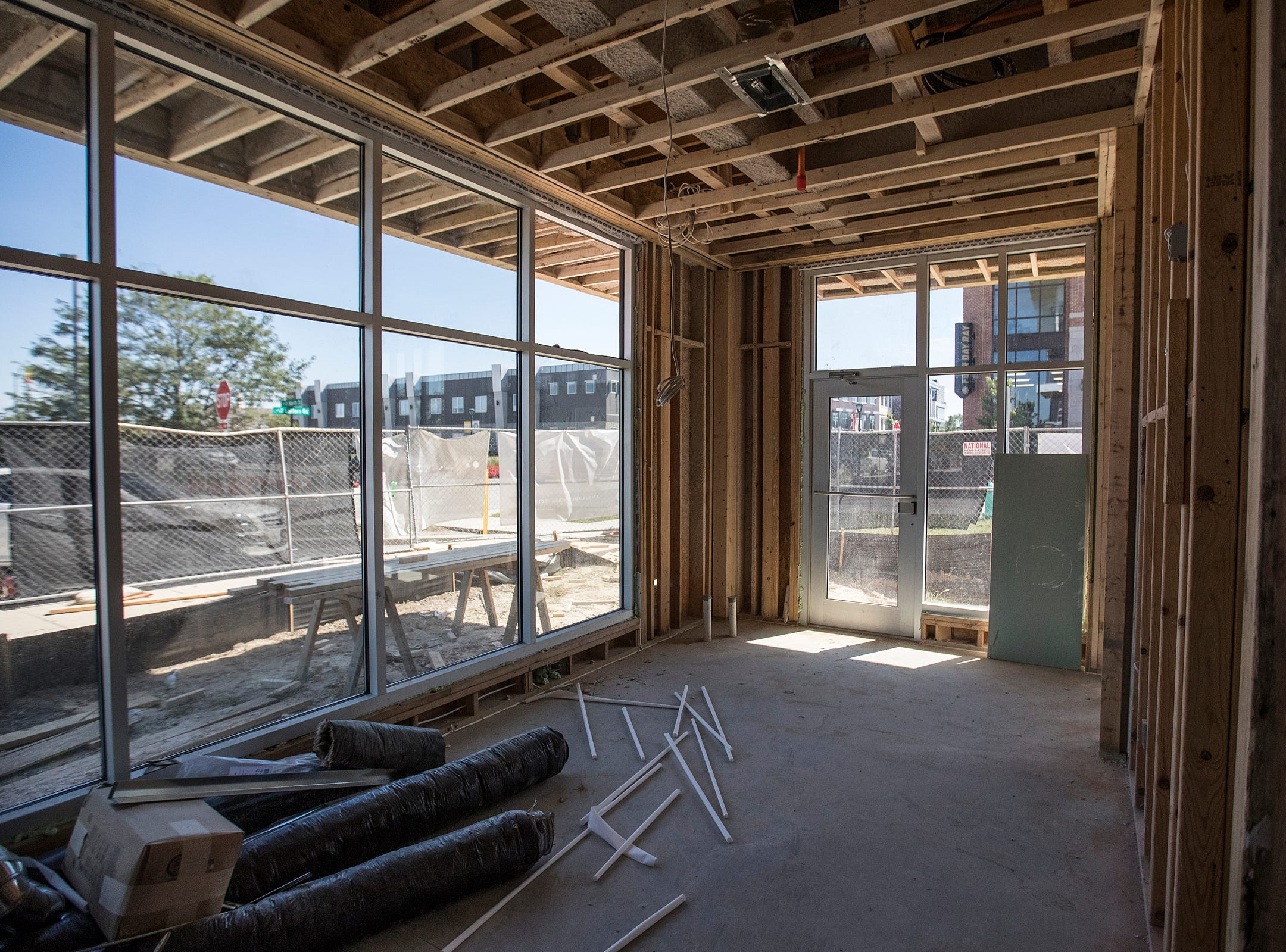 The view from one of 11 live/work spaces at Spark Apartments in Fishers, Ind., on Friday, Sept. 14, 2018. Each live/work unit combines a studio apartment and storefront retail or commercial space. The complex also offers 200 one-, two- and three-bedroom apartments.