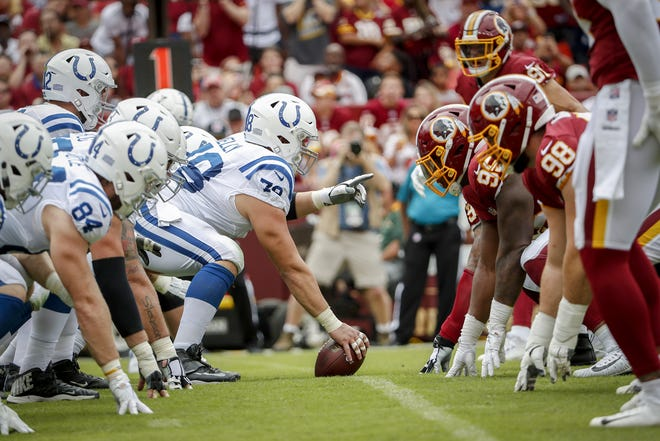 Indianapolis Colts center Ryan Kelly (78) sets up the offensive line during the first half of action. The Indianapolis Colts play the Washington Redskins at FedEx Field in Landover, MD., Sunday, Sept. 16, 2018.