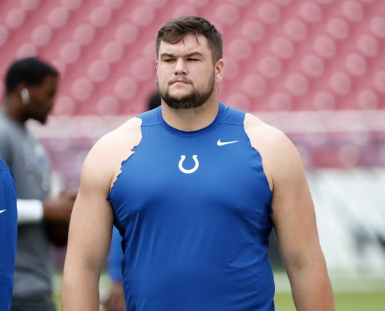 Indianapolis Colts offensive guard Quenton Nelson (56) before the start of their game. The Indianapolis Colts play the Washington Redskins at FedEx Field in Landover MD. on Sunday, Sept. 16, 2018.