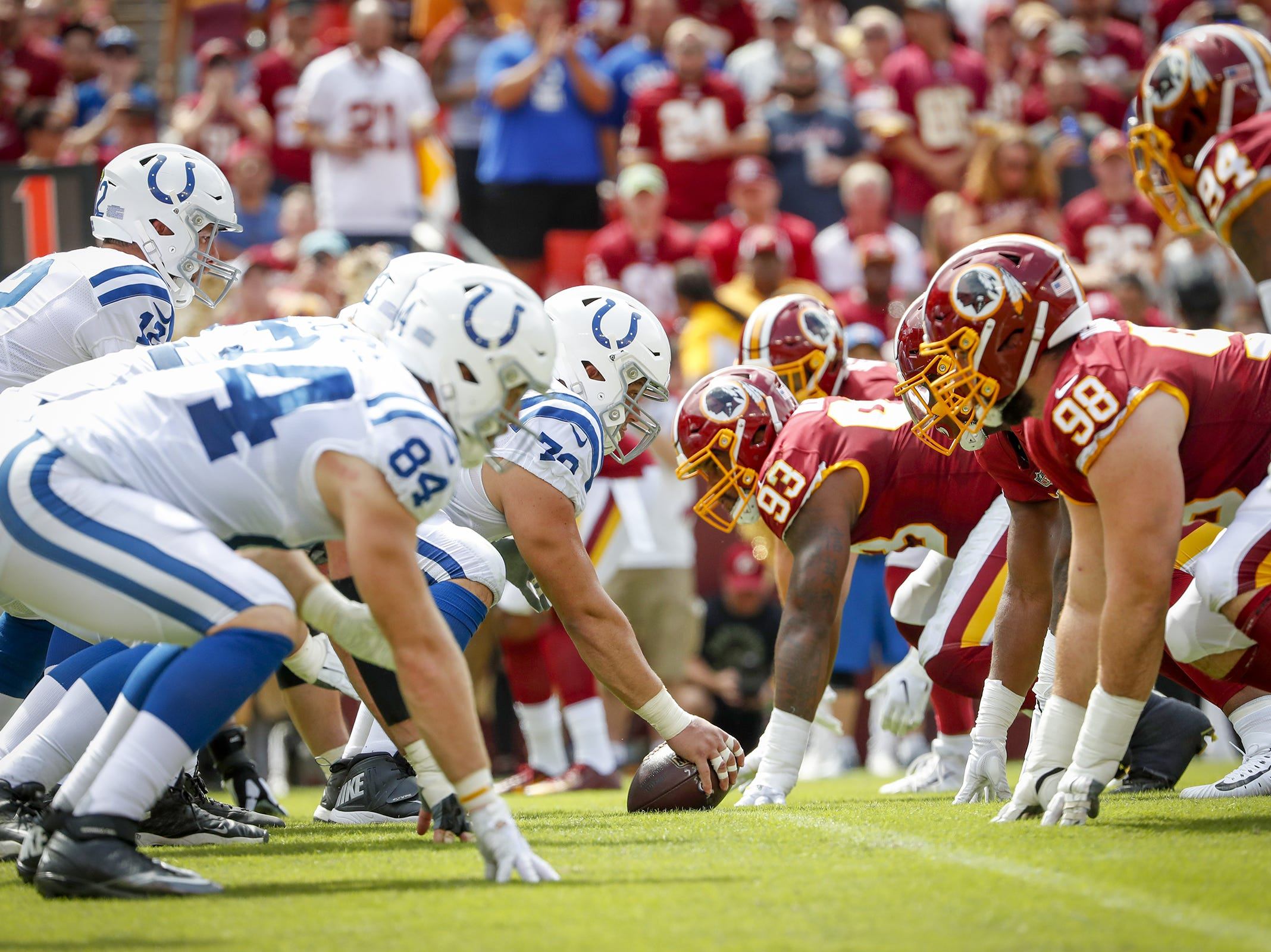 The offensive line faces off against the Redskins during the first half of action. The Indianapolis Colts play the Washington Redskins at FedEx Field in Landover, MD., Sunday, Sept. 16, 2018.