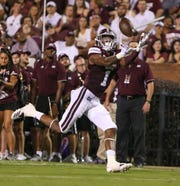 Mississippi State's Stephen Guidry (1) catches a pass for a 39-yard touchdown. makes a reception. Mississippi State and Louisiana played in a college football game on Saturday, September 15, 2018, in Starkville. Photo by Keith Warren/Madatory Photo Credit