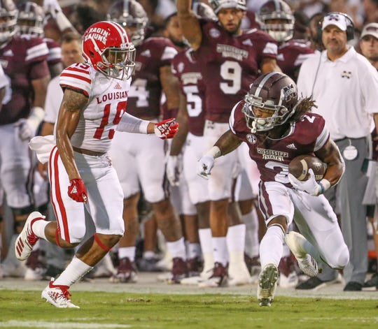 Mississippi State's Deddrick Thomas (2) makes a move on Louisiana's Eric Garror (19) in the first quarter. Mississippi State and Louisiana played in a college football game on Saturday, September 15, 2018, in Starkville. Photo by Keith Warren/Madatory Photo Credit