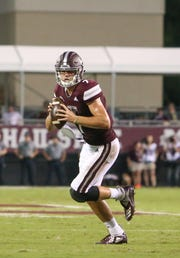 Mississippi State's Nick Fitzgerald (7) looks for a receiver in the red zone. Mississippi State and Louisiana played in a college football game on Saturday, September 15, 2018, in Starkville. Photo by Keith Warren/Madatory Photo Credit