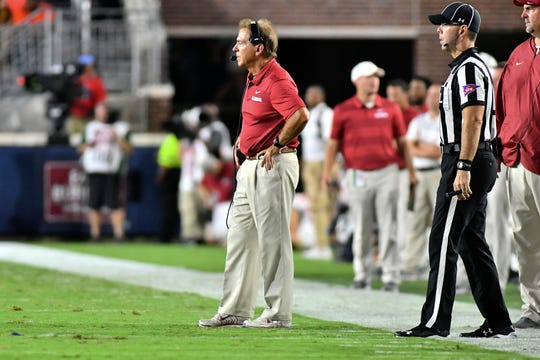 Sep 15, 2018; Oxford, MS, USA; Alabama Crimson Tide head coach Nick Saban stands on the field during the second quarter against the Mississippi Rebels at Vaught-Hemingway Stadium. Mandatory Credit: Matt Bush-USA TODAY Sports