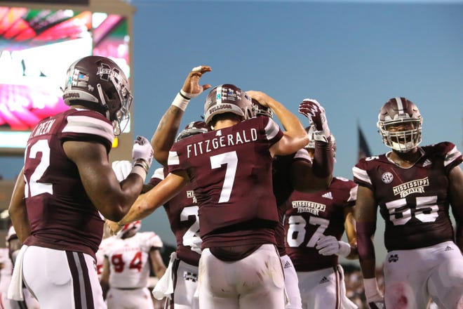 Mississippi State's Nick Fitzgerald (7) celebrates with teammates after scoring his second touchdown. Mississippi State and Louisiana played in a college football game on Saturday, September 15, 2018, in Starkville. Photo by Keith Warren/Madatory Photo Credit