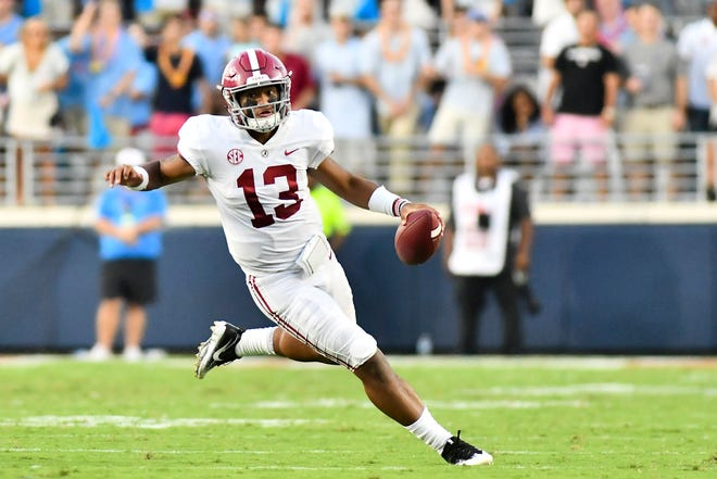 Alabama quarterback Tua Tagovailoa can advance to the Tide to the SEC Championship Game if he leads his team to win at LSU Saturday.