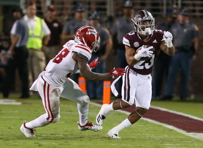 Mississippi State's Keith Mixon (23) carries for a gain in the first half. Mississippi State and Louisiana played in a college football game on Saturday, September 15, 2018, in Starkville. Photo by Keith Warren/Madatory Photo Credit