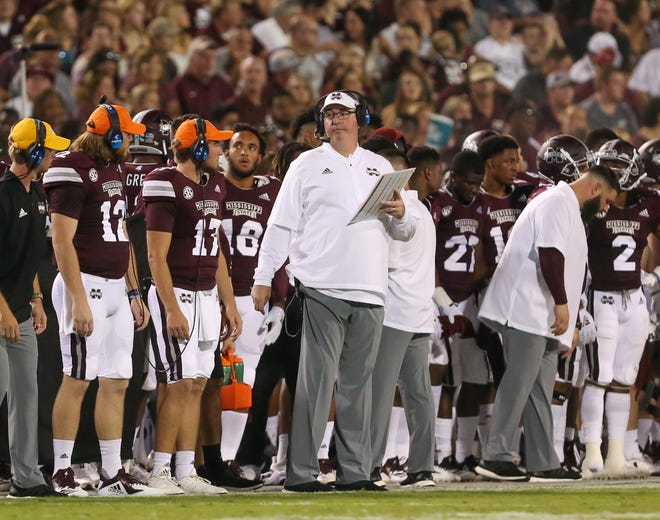 Mississippi State head coach Joe Moorhead calls a play in the first half. Mississippi State and Louisiana played in a college football game on Saturday, September 15, 2018, in Starkville. Photo by Keith Warren/Madatory Photo Credit