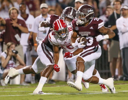 Mississippi State's Keith Mixon (23) picks up yardage after making a catch in the first half. Mississippi State and Louisiana played in a college football game on Saturday, September 15, 2018, in Starkville. Photo by Keith Warren/Madatory Photo Credit